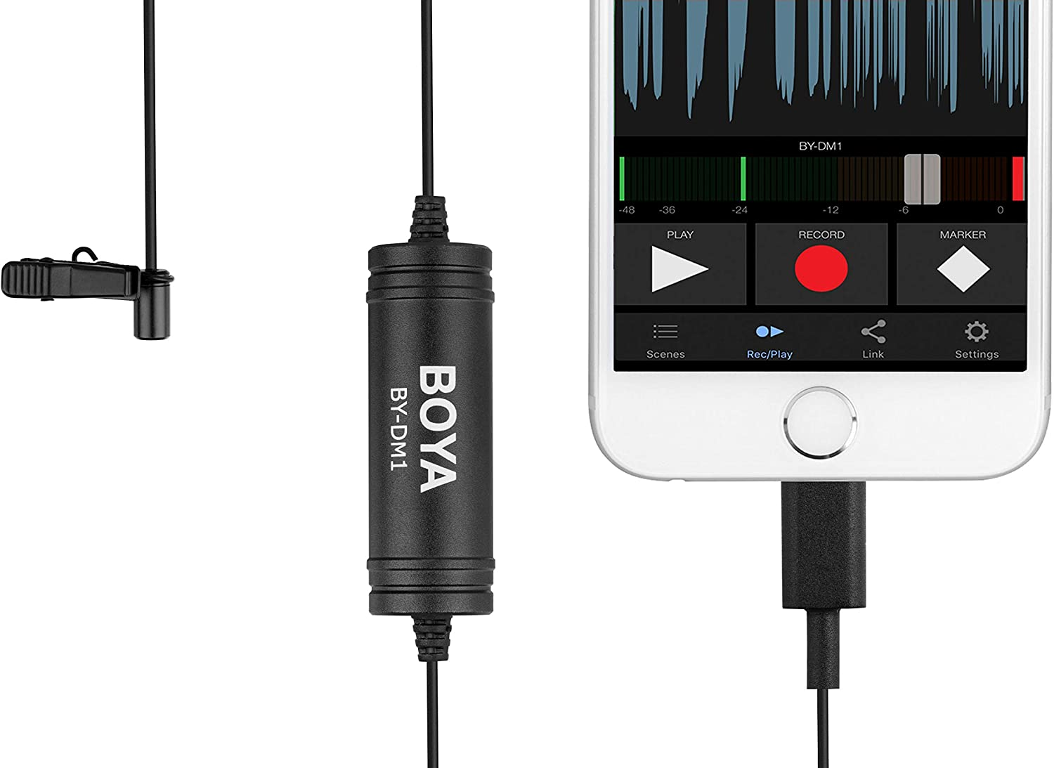 236//6m BOYA by-DM1 Lavalier Microphone Lapel Clip-on Mic with Lightning Connector Compatible with iOS iPhone11 X 8 7 6 Plus iPad iPod for YouTube Conference,Vlogging Interview Speech Podcast