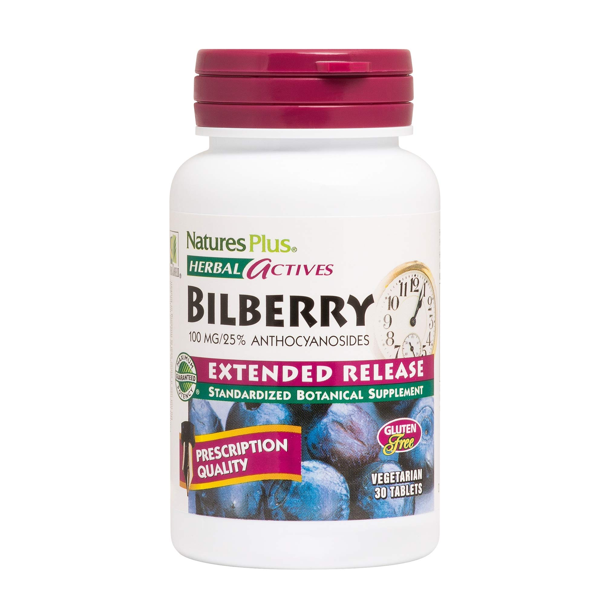 NaturesPlus Herbal Actives Bilberry - 100 mg, 25% Anthocyanosides - 30 Vegan Tablets, Extended Release - Supports Healthy Eye Function - Hypoallergenic, Vegetarian, Gluten-Free - 30 Servings