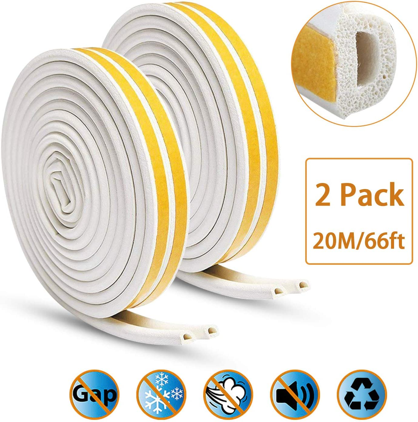 KELIIYO Door Weather Stripping, Window Seal Strip for Doors and Windows- Self-adhisive Foam Weather Strip Door Seal | Soundproof Seal Strip Insulation Gap Blocker Epdm D Type 66ft(20m) 2 Pack (White)
