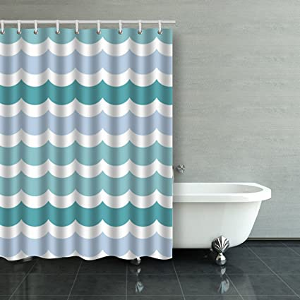 Emvency Shower Curtain Colorful Fashion Wave Geometry Pattern Polyester Fabric 54 X 72 Inches Curtains