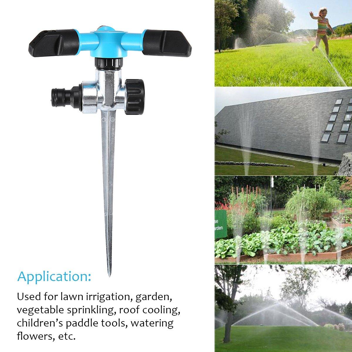 Adjustable Rotating Spray AGSIVO Garden Sprinkler Water Sprinkler for Lawn 360 Degree Rotate Spike