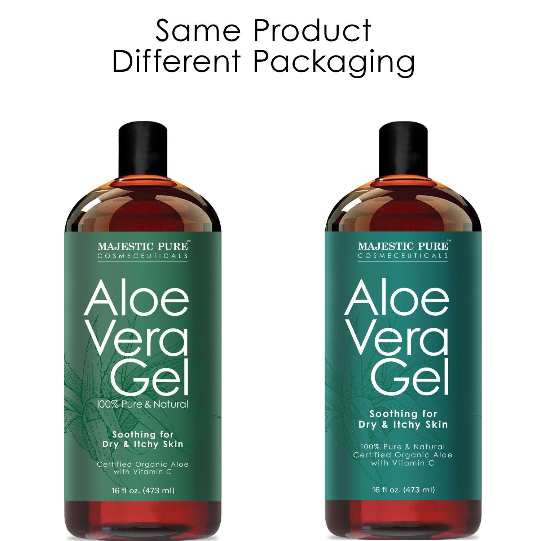 Majestic Pure Aloe Vera Gel - From 100% Pure and Natural Cold Pressed Aloe Vera, 16 fl oz