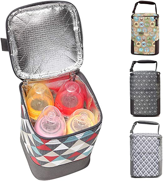 fit Four 8-Ounce Bottles Insulated Breastmilk Cooler and Baby Bottle Bag Tote Bag for Travel