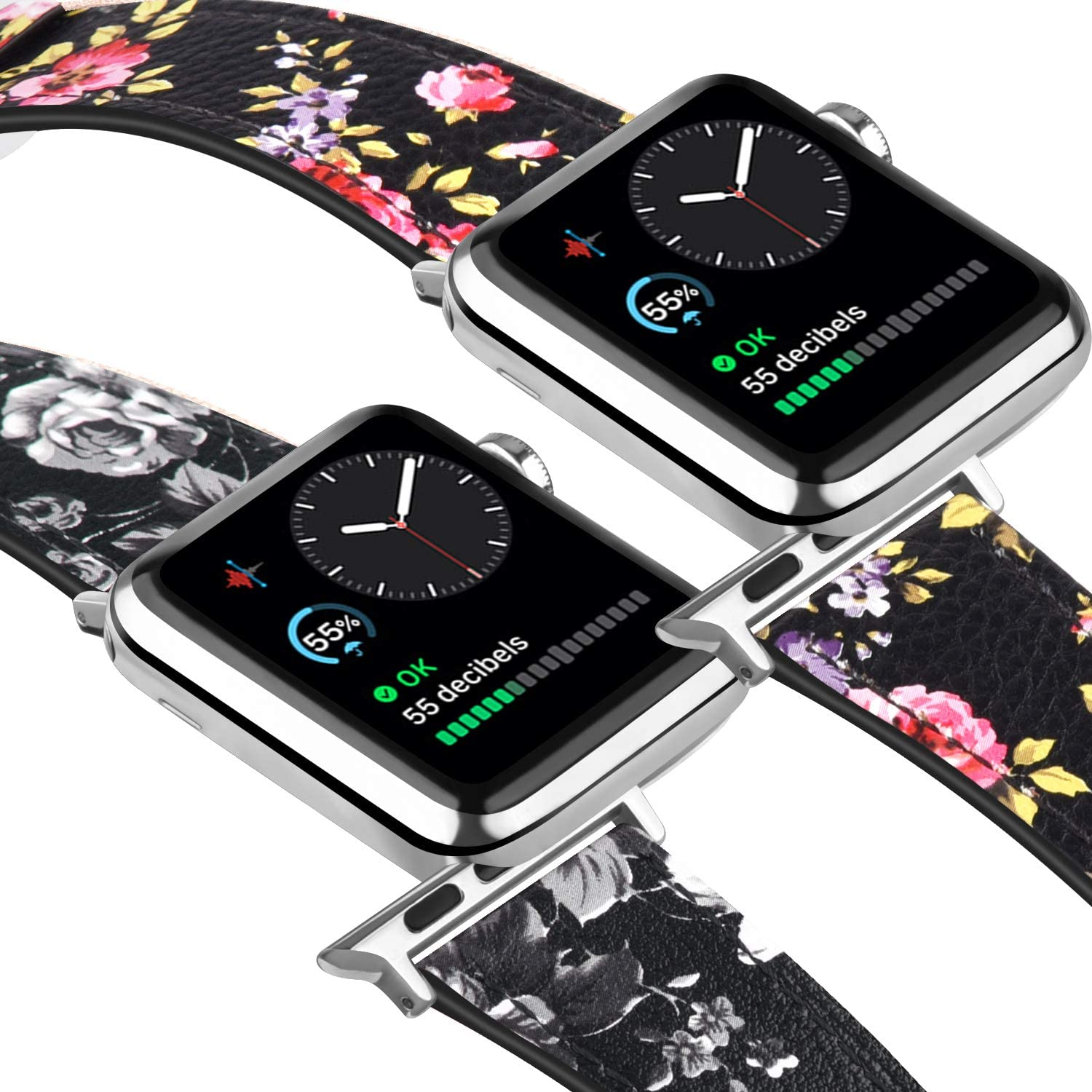 Tobfit Leather Bands Compatible with Apple Watch Band 38mm 40mm 42mm 44mm Women Men, Top Grain Leather Watch Band Compatible with iWatch Series 5/4/3/2/1 (Floral Gray & Floral Pink, 38mm/40mm)