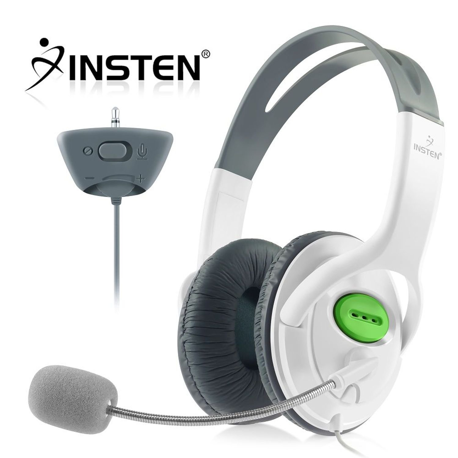Insten Headset Headphone with Mic Compatible with Xbox 360 Wireless Controller, White by INSTEN