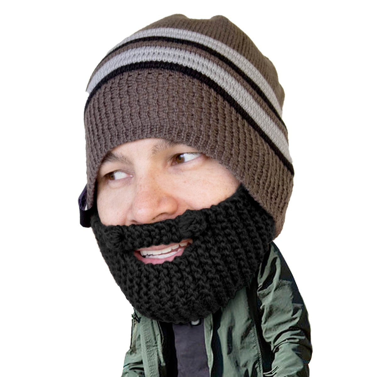 30e089efb69 Amazon.com  Beard Head - The Original Stubble Chico Knit Beard Hat (Black)   Clothing