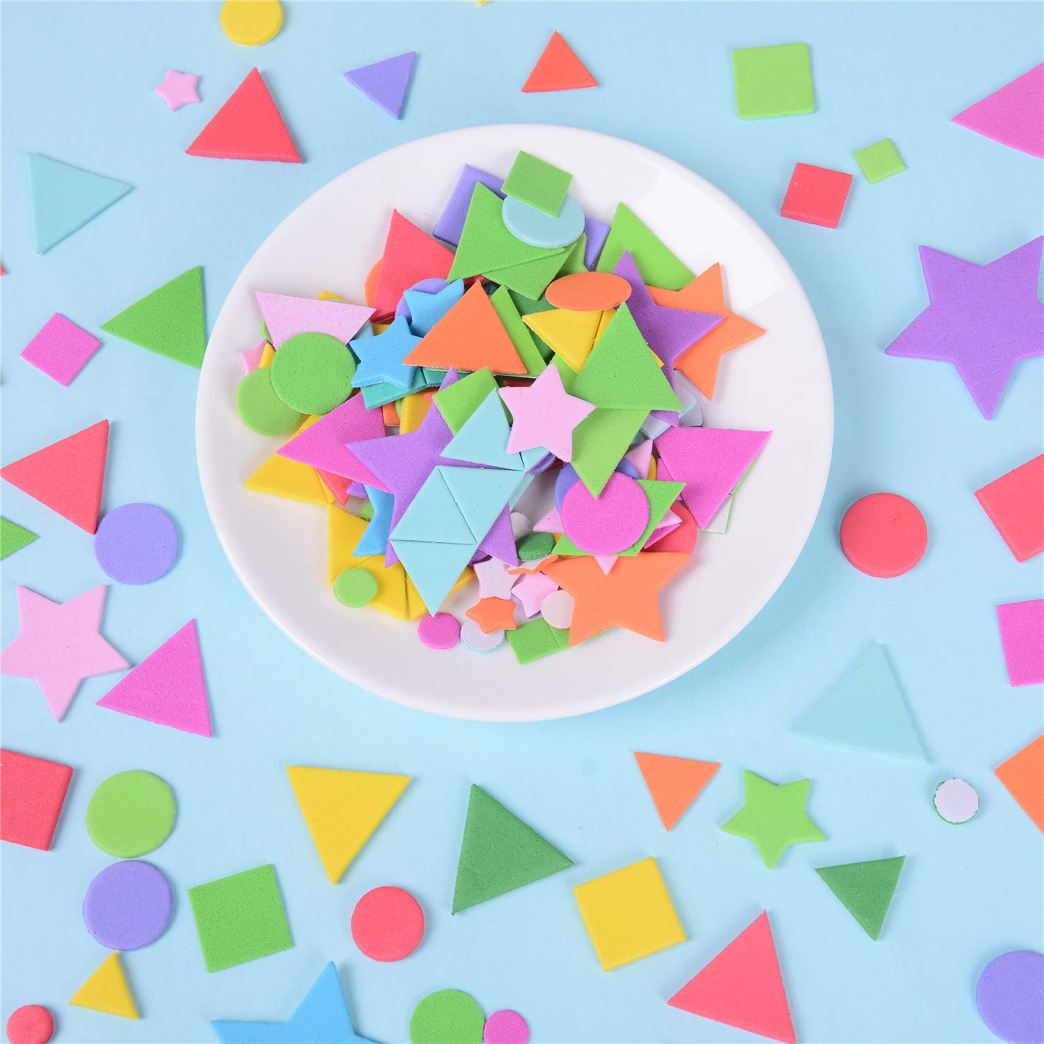MX-Amigo 1000Pcs Mini Foam Stickers,Self Adhesive Geometry Foam Star Stickers,Stickers for Kids,Self Adhesive DIY Craft Sticker.Suitable for Childrens Crafts,Greeting Cards and Home Decoration.