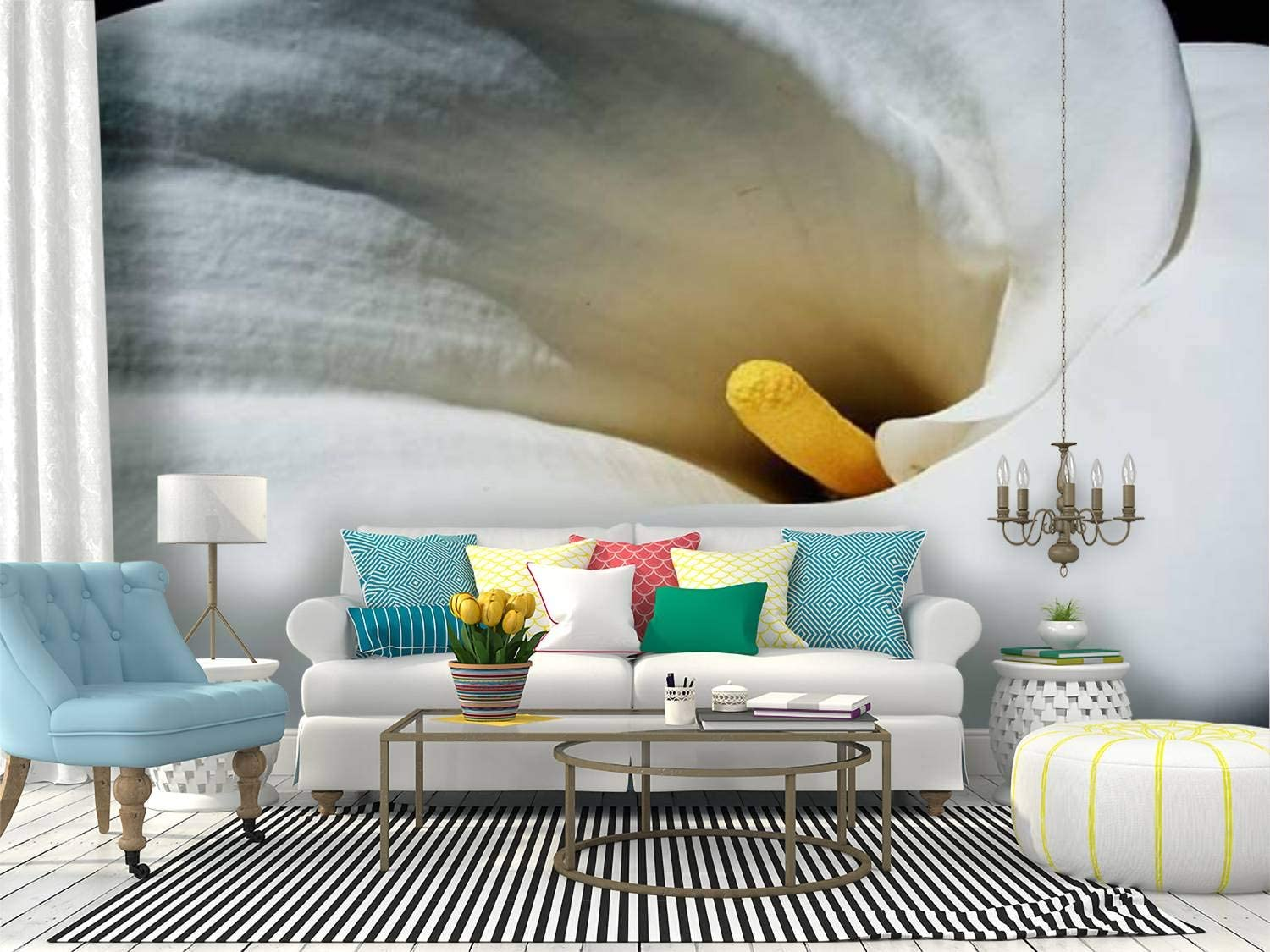 Amazon Com Wall Mural Calla Lily Flower White Yellow Abstract New Orleans Style Stock Peel And Stick Wallpaper Self Adhesive Wallpaper Large Wall Sticker Removable Vinyl Film Roll Shelf Paper Home Decor Home