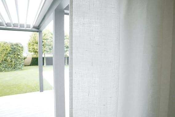 Cortina de lino de Beties de aproximadamente 135 x 245 cm con trabillas, 100 % auténtico lino en estilo rústico en 2 colores monocolores, 1 pieza, lino, Weiß, 135 x 245 cm: Amazon.es: Hogar