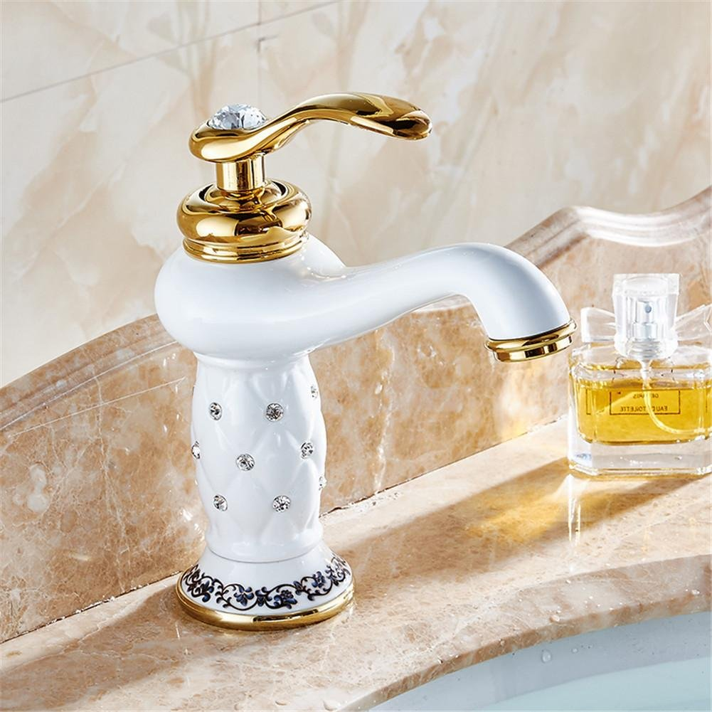 GAOF Contemporary Concise Bathroom Faucet White bronze finish Brass Basin Sink Faucet Single Handle water taps 7301W Faucet Faucet