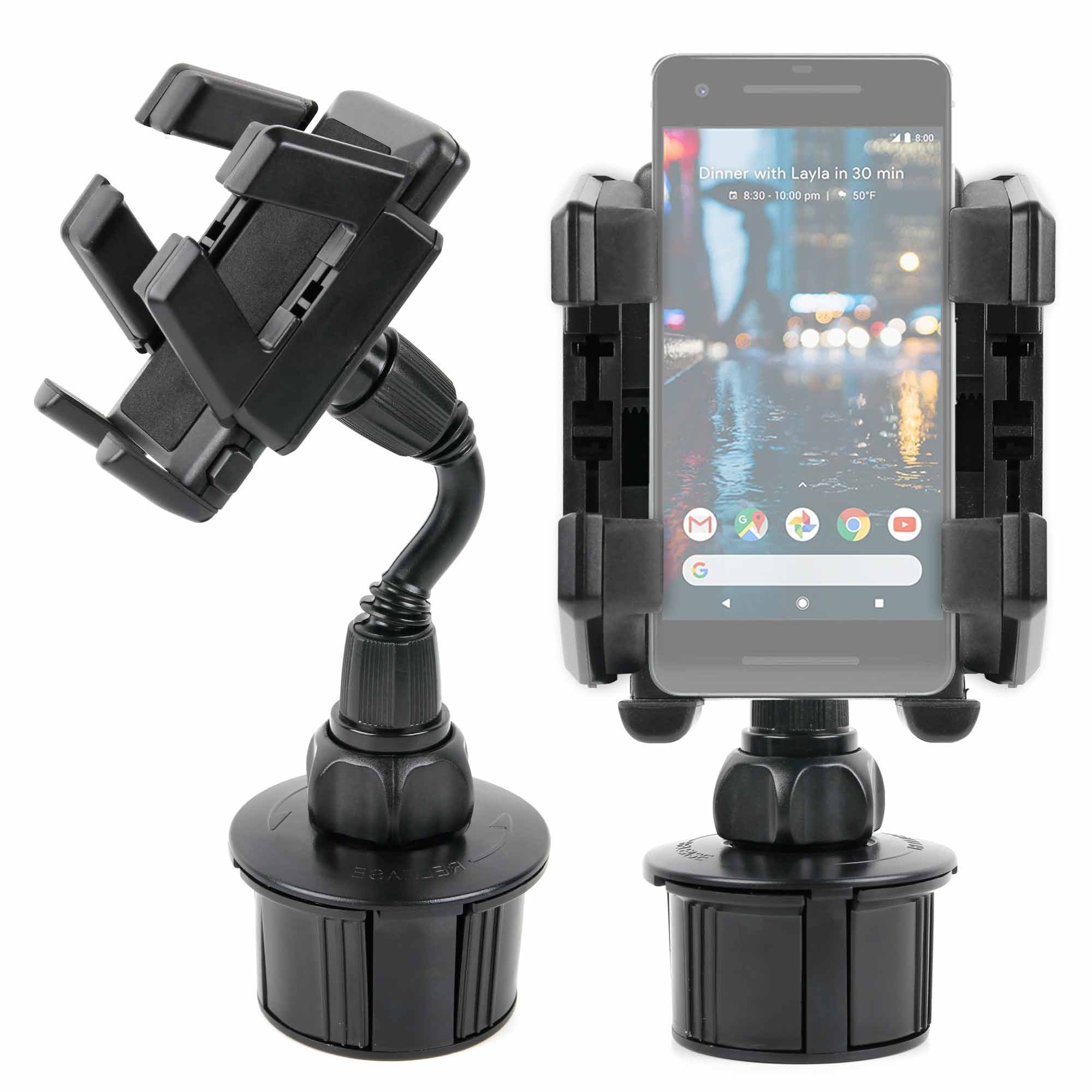 DURAGADGET Shake-Proof, Shock-Absorbing in-Car Cup Holder Mount/Holder with Rotatable Mount - Compatible with The Google Pixel | Pixel 2 | Pixel XL | Pixel 2 XL