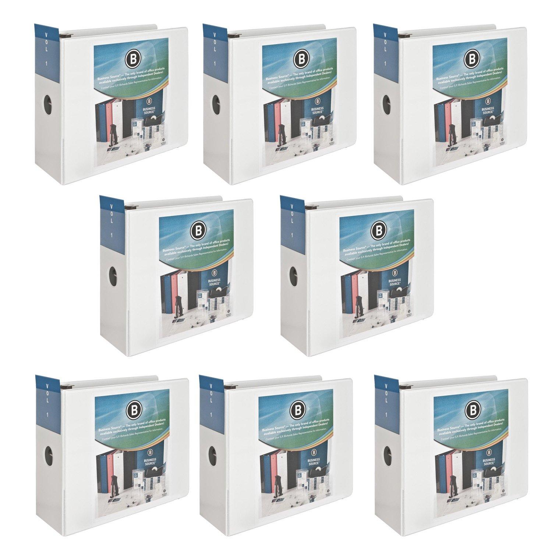 Business Source Letter Size 5-Inch Slanted D-Ring 950 Sheet Presentation View Binder, White, Set of 8