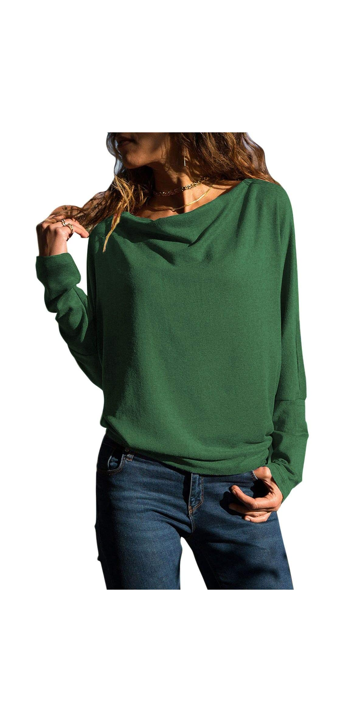 Womens Tops Long Sleeve T Shirt Cowl Neck Tunic Solid