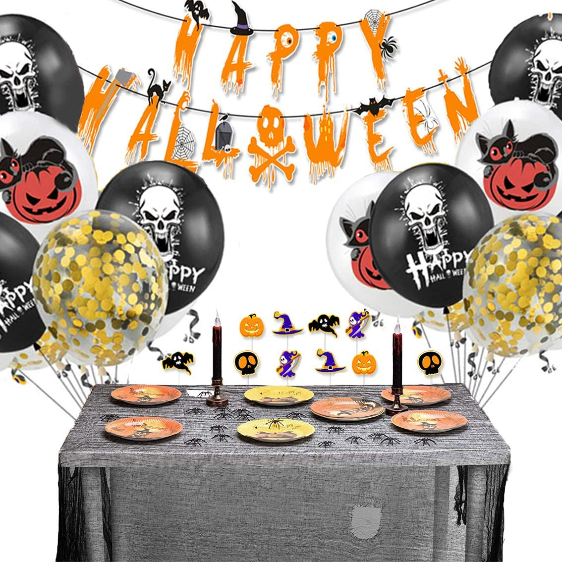 61PCS Halloween Party Supplies Balloons Kit Party Favors, Bat Spiders Pumpkin Ghost Skull Halloween Hanging Decoration with Latex Balloon Banner Cake Inserted Card Halloween Signs for Front Door Indoor Home Decor Porch Decorations