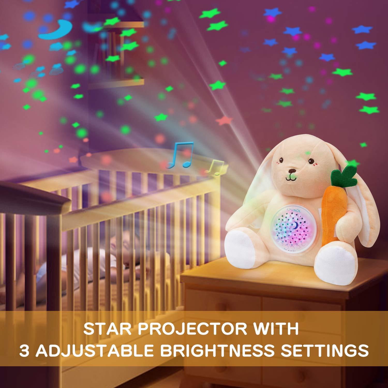 APUNOL Baby Einschlafhilfe Musik Babys Nachtlicht Projektor Wiederaufladbar kinder Babyparty Geschenk M/ädchen und Junge Spielzeug Hase mit Wei/ßes Rauschen Weinen Erkennungs Sensor