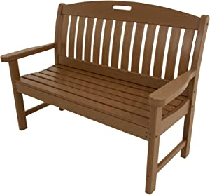 """Hanover Outdoor Furniture HVNB48TE Avalon All Weather Porch Bench, 48"""", Teak"""