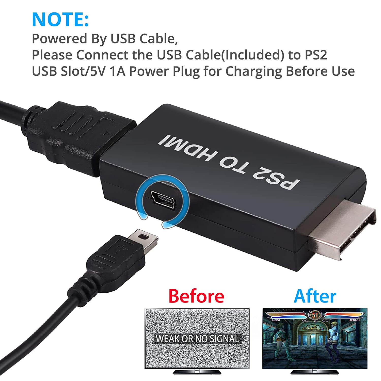 Amazon.com: eSynic - Adaptador de PS2 a HDMI, PS2 a HDMI con ...