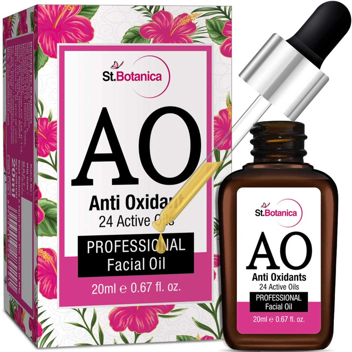StBotanica Anti Oxidant (24 Active Oils) Professional Facial Oil - 20ml - Facial Glow, AntiAging with Retinol, Argan, Rosehip & Other Oils product image