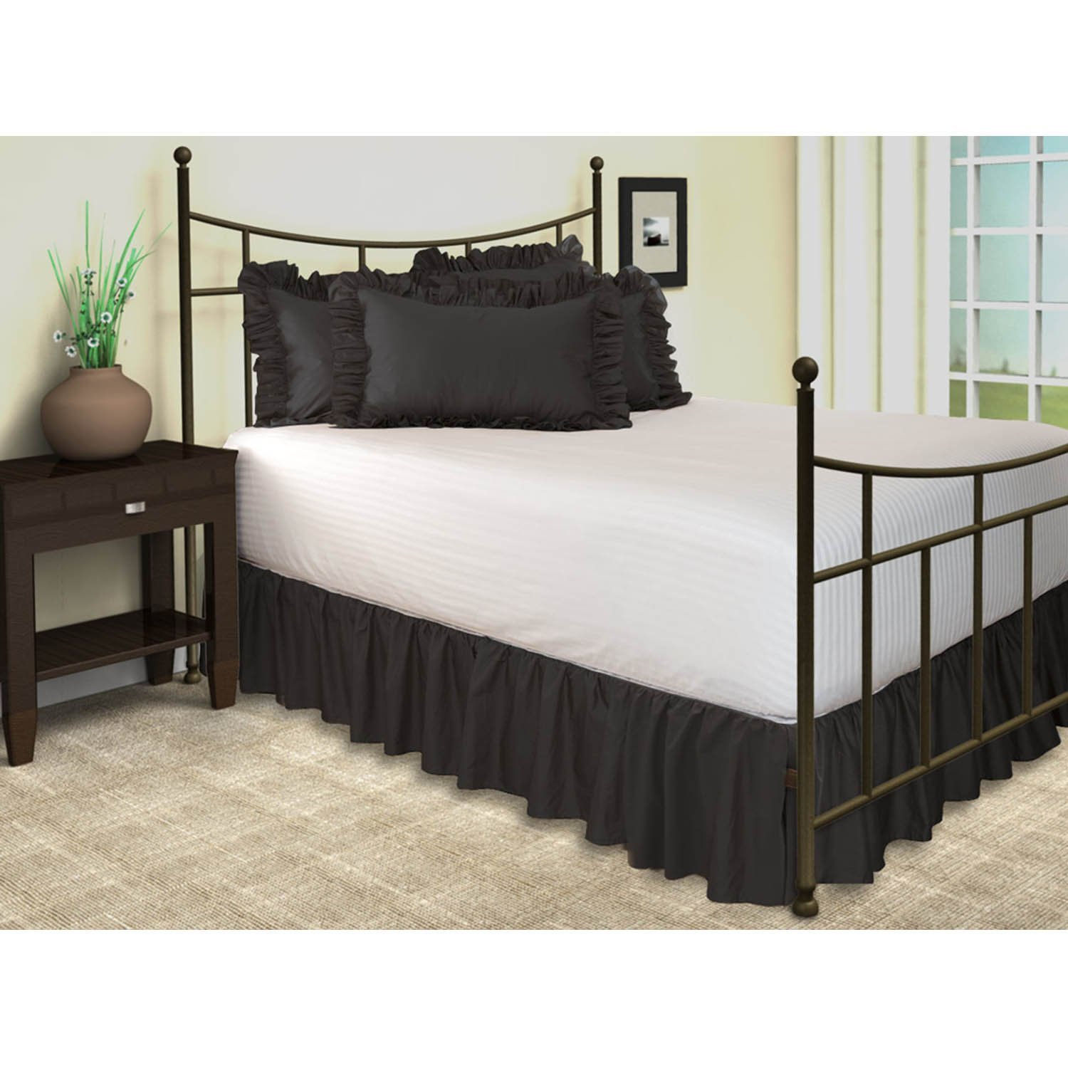 Luxurious Comfort Collection 800TC Pure Cotton Dust Ruffle Bed Skirt 14 Drop length 100/% Egyptian Cotton Navy Blue Queen Size Comfort Bedding Collection