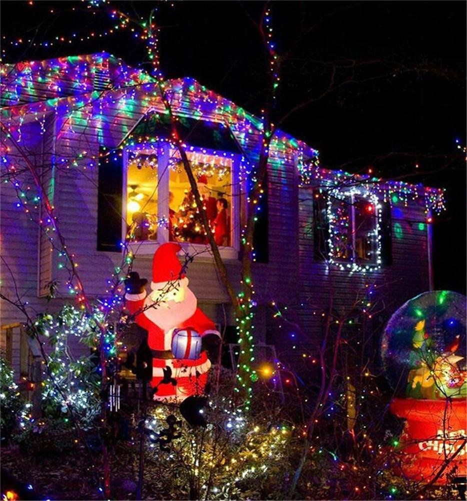 REDOI Christmas String Lantern Wedding Network Fairy 8 Flash Mode Controller Waterproof Home Garden Nursery 868 LED 6 4 M (Color)