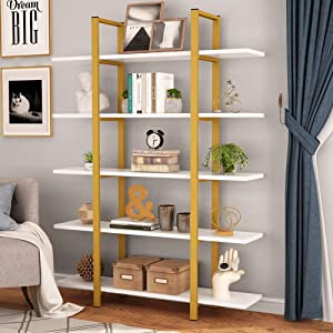 Tribesigns 5-Tier Bookshelf, Vintage Industrial Style Bookcase 70 '' H x 12'' W x 47''L, Gold