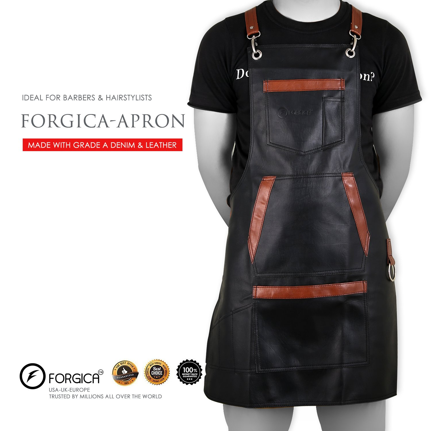 FORGICA Professional PU Leather Apron Hair Cutting Aprons For Men Hairdressing Aprons Barber Cape for Salon Hairstylist - Multi-use Adjustable 8 pockets - Gifts Heavy Duty Premium Quality Black Apron by Forgica