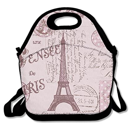 d7a849d8032e Amazon.com: Pink Paris Stamps Pattern Eiffel Tower Insulated Lunch ...