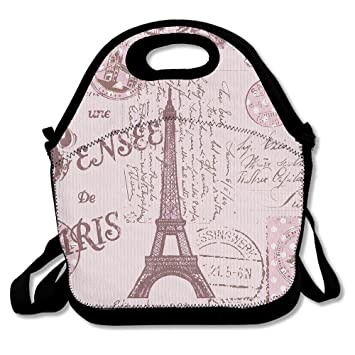 Amazon.com: Pink Paris Stamps Pattern Eiffel Tower Insulated ...