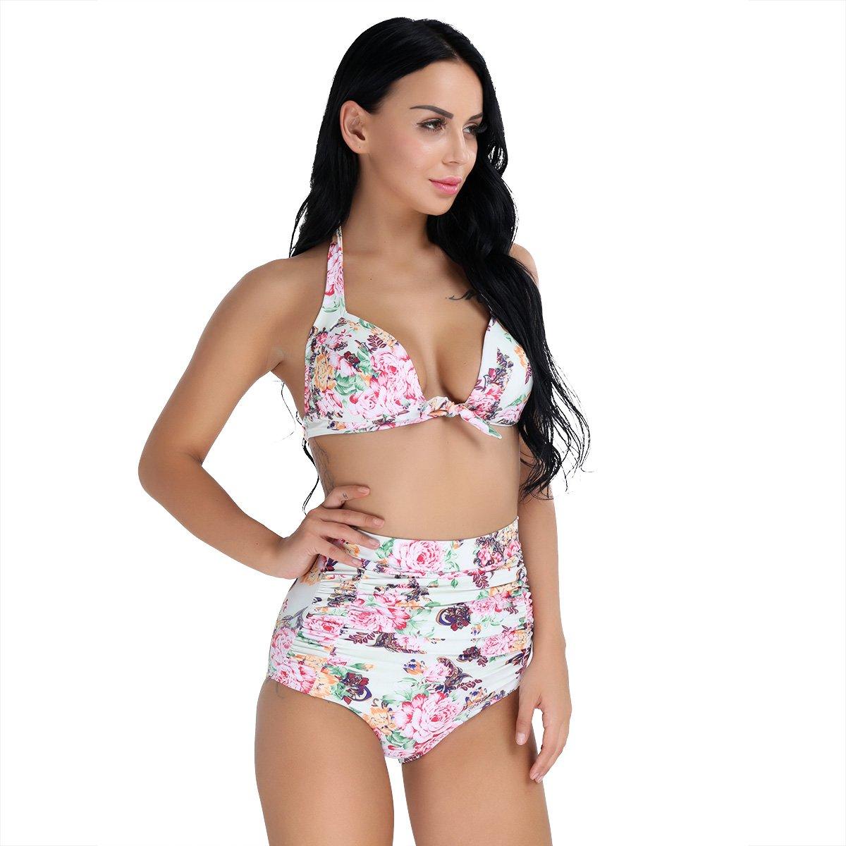 069e141c9d638 Amazon.com  YiZYiF Women s High Waist Floral Printed Padded Swimwear Plus Size  Bikini 2PCS Set Light Green Small  Clothing
