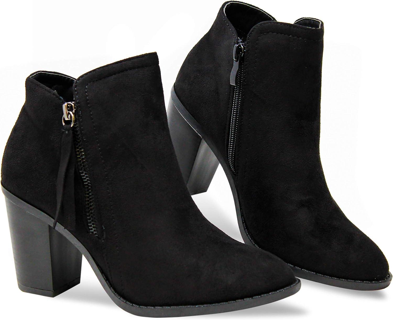 Ladies Womens Ankle Boots Low Block Heel Inside Zip Buckle Shoes Size