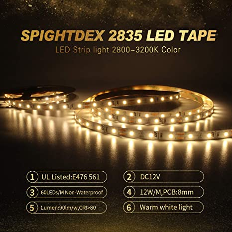 sale retailer ac920 c5989 Amazon.com: SPIGHTDEX LED Strip Lights, Warm White 2835 Non ...