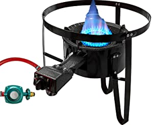 "Premium Cast Iron Propane Burner with 19"" Tall Stand Combo Cooker Outdoor Stove Portable High Pressure Gas Patio Deep Fry BBQ with Hose & Regulator"