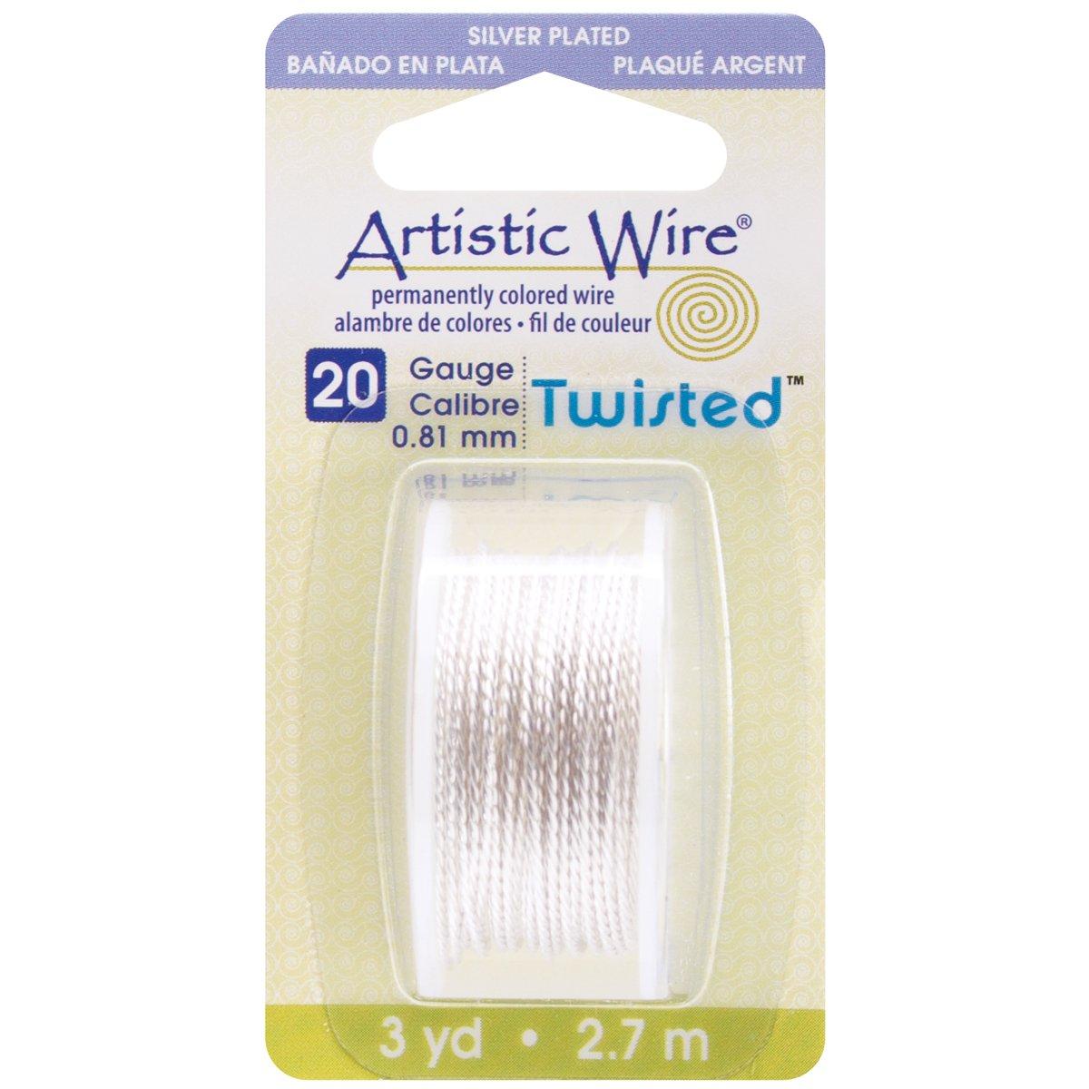 Beadalon Artistic Wire/ /Calibre 18 2yd /Alambre Twisted-Non-Tarnish Silver/