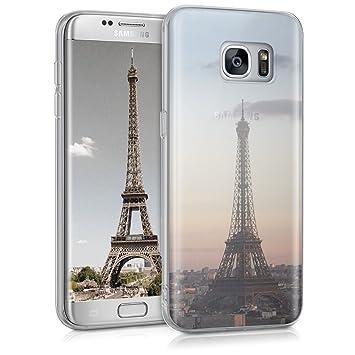 kwmobile Funda para Samsung Galaxy S7 Edge - Carcasa de TPU para móvil y diseño Torre Eiffel en Antracita/Rosa Claro/Transparente