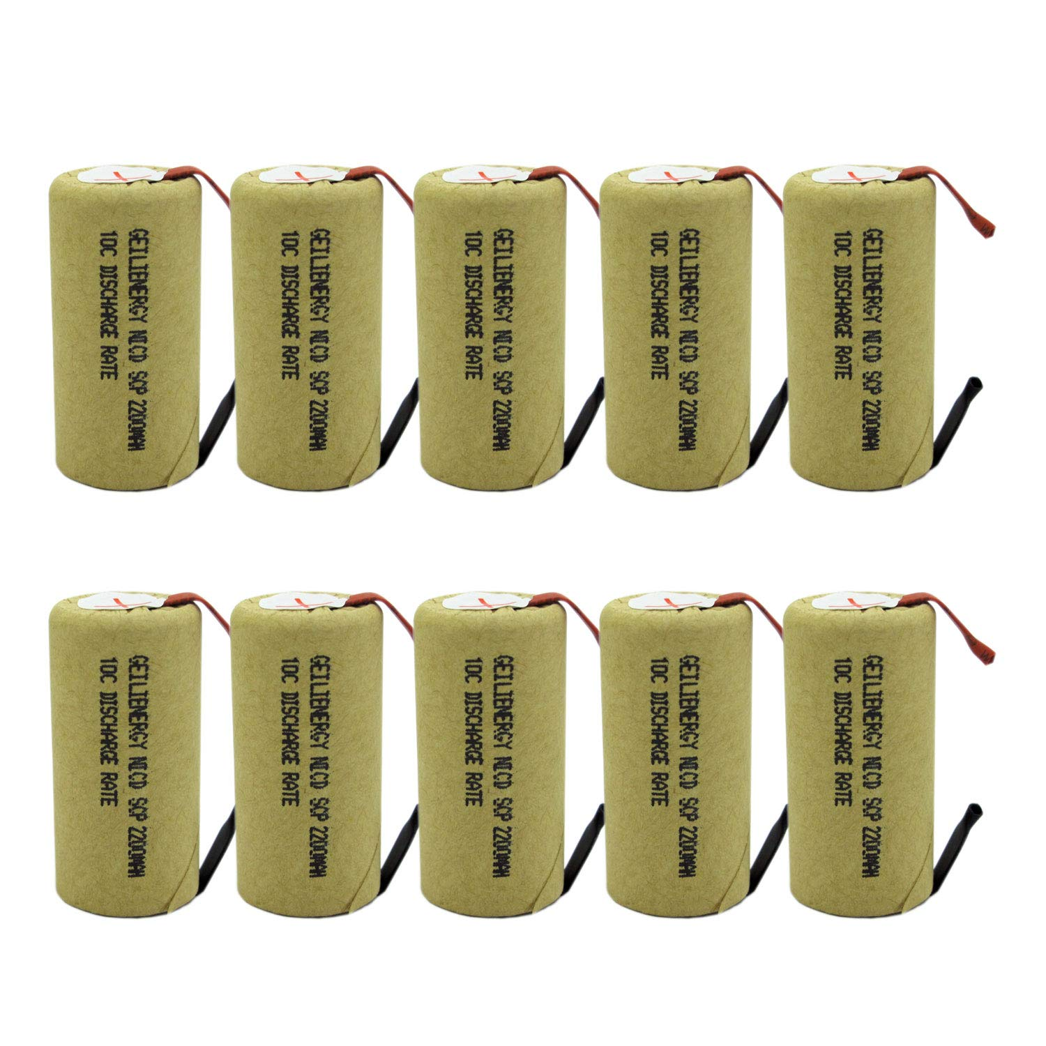 GEILIENERGY 2200mAh Sub C NiCd Battery 10C Discharge Rate for Power Tools, 1.2V Flat Top Rechargeable Sub-C Cell Batteries with Tabs(Pack of 10) by GEILIENERGY