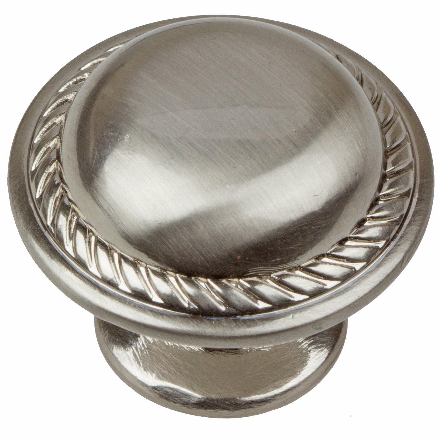 GlideRite Hardware 81784-SN-10 1.125 inch Diameter Round Rope Satin Nickel Cabinet Knobs 10 Pack