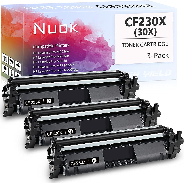 NUOK Compatible Toner Cartridge Replacement for HP 30X CF230X 30A Black Toner Cartridge High Yield for HP Laserjet Pro MFP M203dw Toner M227fdn M227fdw M203dn M203d M227sdn M227 M203 Printer, 3 Pack
