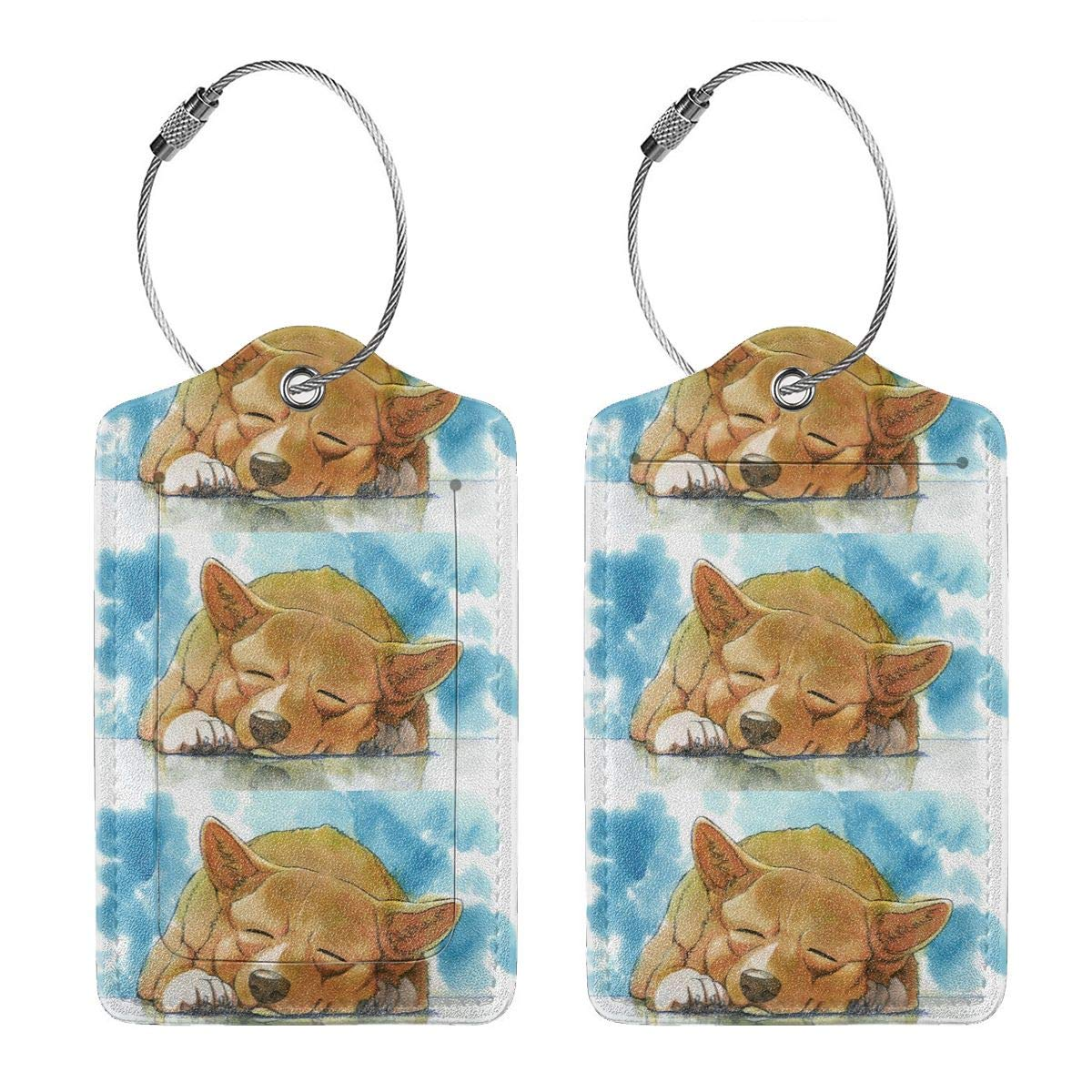 Sleeping Dog Leather Luggage Tags Suitcase Tag Travel Bag Labels With Privacy Cover For Men Women 2 Pack 4 Pack