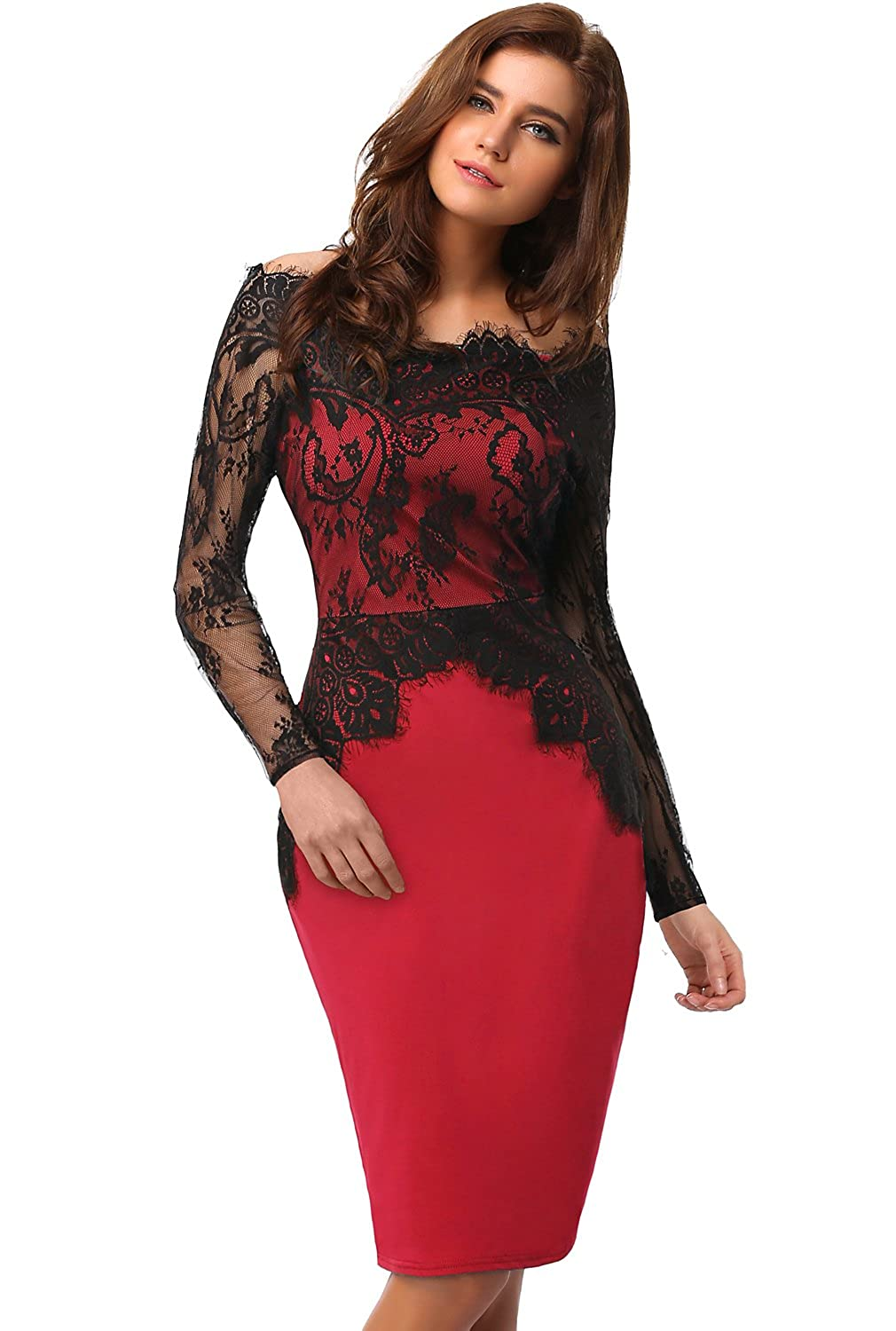 EA Selection Womens Sexy Lace Off Shoulder Long Sleeve Evening Party Dress