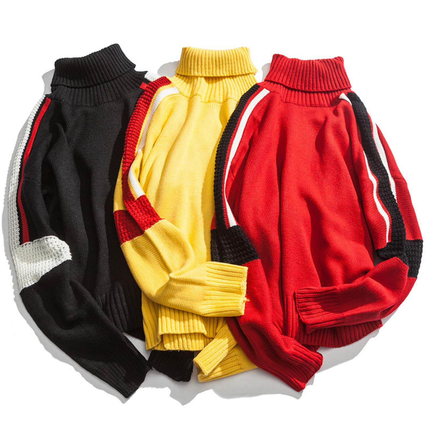 Thadensama Color Block Patchwork Turtleneck Knitted Sweaters Casual Pullover Sweater Fashion Hip Hop Knitwear