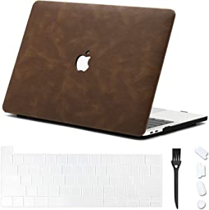 DHZ MacBook Pro 16 Inch Case 2019 2020 Released with Touch ID A2141,Italian Leather Protective Cover Hard Shell with Keyboard Skin,Dust Plug,Keyboard Brush, (Bundle 4 in 1),Brown Leather