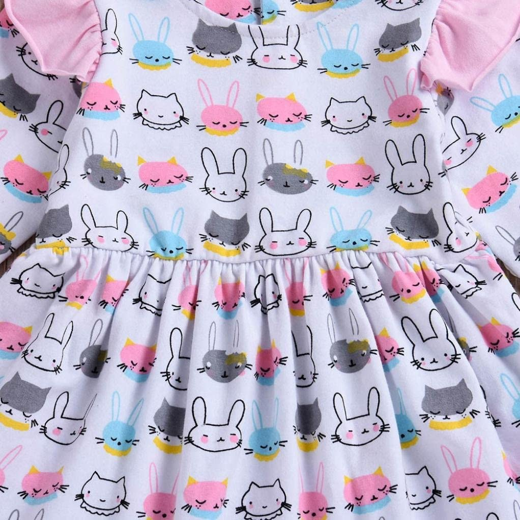 Memela 2018 New Fall Baby Girls Dresses,Cartoon Animals Rabbit Print Princess Dresses