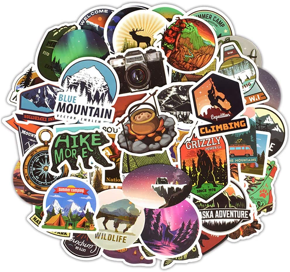 Ratgoo Random Outdoor Travel Series Graffiti Sticker Pack,50 Pcs Non-repetitive Appliques,Difficult to Fade,Long Lifetime,Ideal Decals for Your Water Bottle,iPhone,Laptop,Bike,Guitar and More.