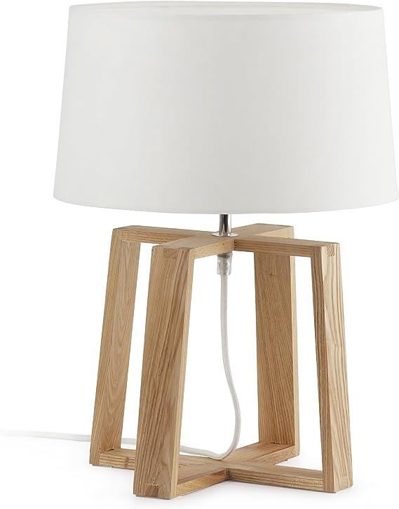 Imagen deFaro Barcelona Bliss 28401 - Sobremesas y lámparas de pie, 60W, madera, metal y pantalla textil blanca, color blanco           [Clase de eficiencia energética A]