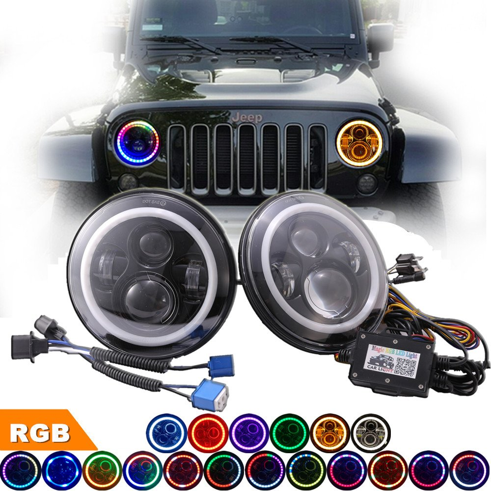 "Amazon.com: COWONE 7"" Round LED RGB Headlights DRL Headlamp with EMC for  Jeep Wrangler TJ CJ JK Hummer H1 H2 Land Rover Angel Eye Halo Ring  Controlled by ..."