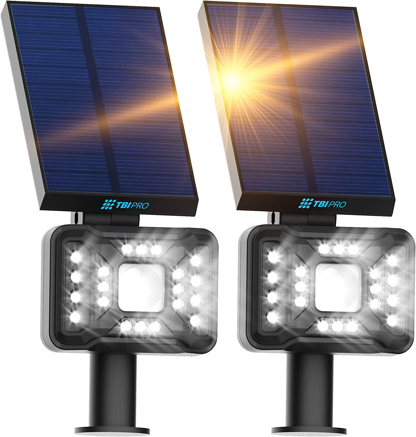 TBI Pro 21 LEDs Solar Landscape Spotlights, IP65 Waterproof Solar Powered Wall Lights 2-in-1 Wireless Outdoor Solar Landscaping Lights for Yard Garden Driveway Porch Walkway Patio 2 Pack Cold White