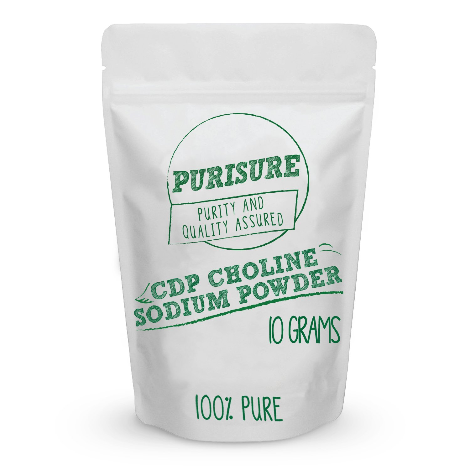CDP Choline Powder (Citicoline Sodium) 10g (40 Servings), Promotes Cognitive Efficiency, Boosts Mental and Physical Energy, Nootropic, Increases Uridine