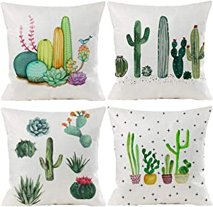 Summer Tropical Cactus Floral Decorative Throw Pillow Covers 18 x 18 inch Set of 4 Green Plants Flower Cotton Linen Burlap Square Outdoor Cushion Cover Pillow Case for Couch Car Sofa Bed Decor