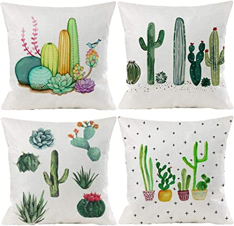 Amazon Com Summer Tropical Cactus Floral Decorative Throw Pillow Covers 18 X 18 Inch Set Of 4 Green Plants Flower Cotton Linen Burlap Square Outdoor Cushion Cover Pillow Case For Couch Car Sofa