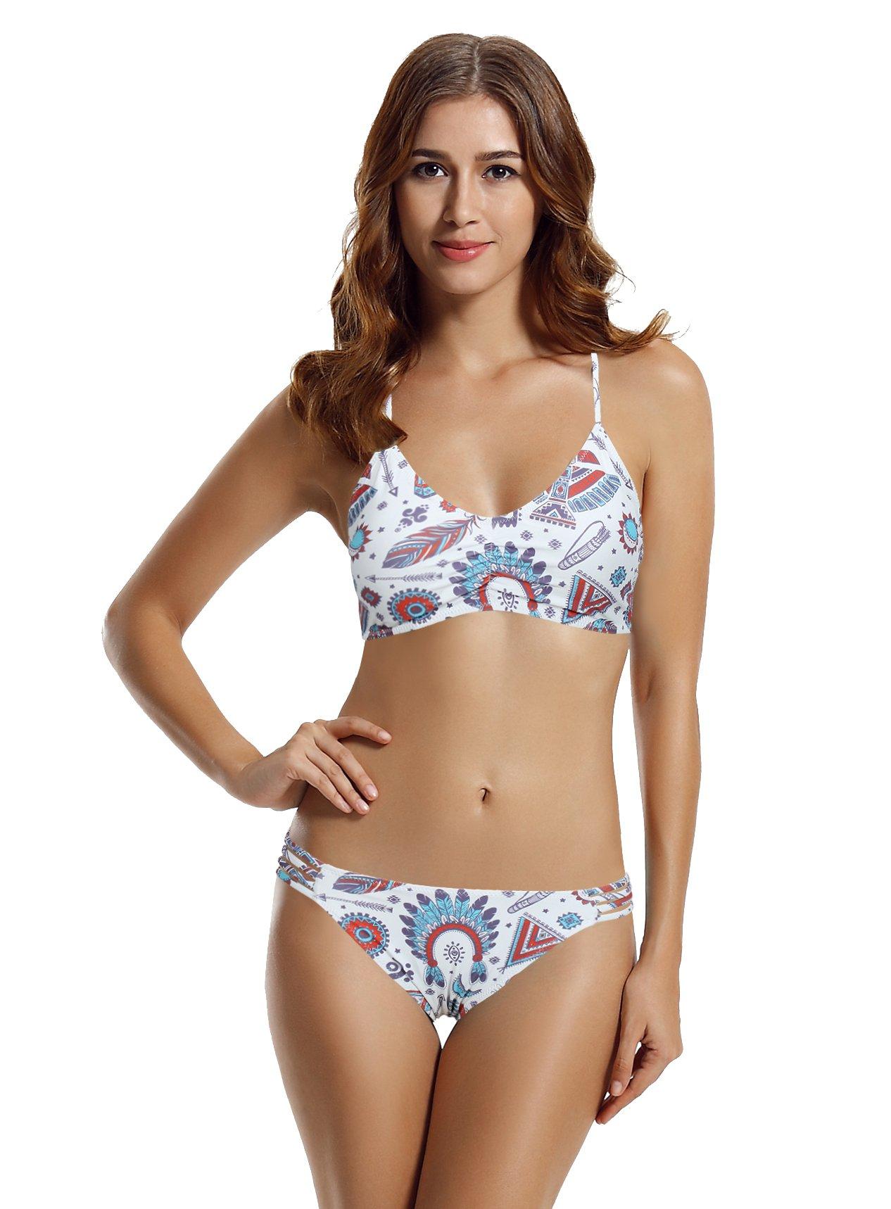 zeraca Women's Strap Side Bottom Halter Racerback Bikini Bathing Suits (FBA) (Small / 6, Symbol)